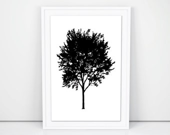 Printable Art, Tree Silhouette, Gallery Wall Prints, Nursery Wall Art, Wall Decor Printables, Tree Prints, Home Decor, Black and White Decor