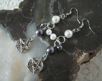Pentacle Earrings, wiccan jewelry pagan jewelry wicca jewelry witch witchcraft pentagram earrings gothic pagan earrings wiccan earrings