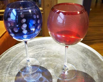 Mikasa Red and Blue Globe Wine Glasses Stemware with etched strips and dots