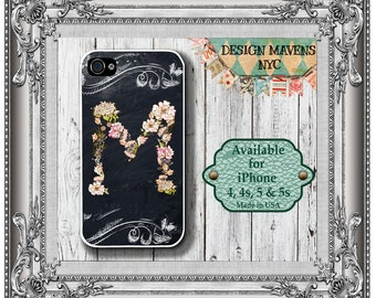 Chalkboard iPhone Case, Flower iPhone Case with Monogram, Personalized Phone, iPhone 4, 4s, iPhone 5, 5s, 5c, iPhone 6, 6s, 6 Plus, iPhone 7