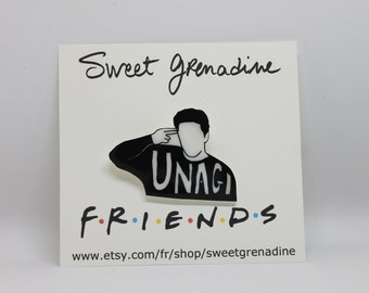 "Friends TV Show Shrink Plastic Brooch//Ross Geller ""UNAGI"""