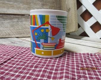 Vintage Staffordshire England Kiln Craft Coffee Cup Mug Art Deco Desk Typewriter Writer Novelist Secretary