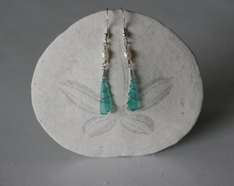 White Pearl & Turquoise Recycled Glass Earrings