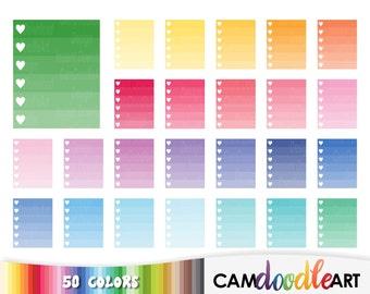 50 Ombre Checklist Clipart,Heart Check List, To Do, Task Reminder Clipart,Checklist Sticker,Planner Clipart,Sticker Clipart,png file