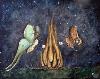 Moth Mallows - 8x10 Art Print - Luna and Polyphemus Moth Roasting Marshmallows over Fire - Art by Marcia Furman
