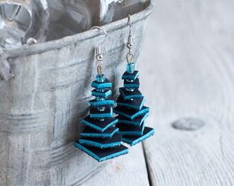 Dark blue geometric Leather Earrings, tribal Earrings, Boho earrings