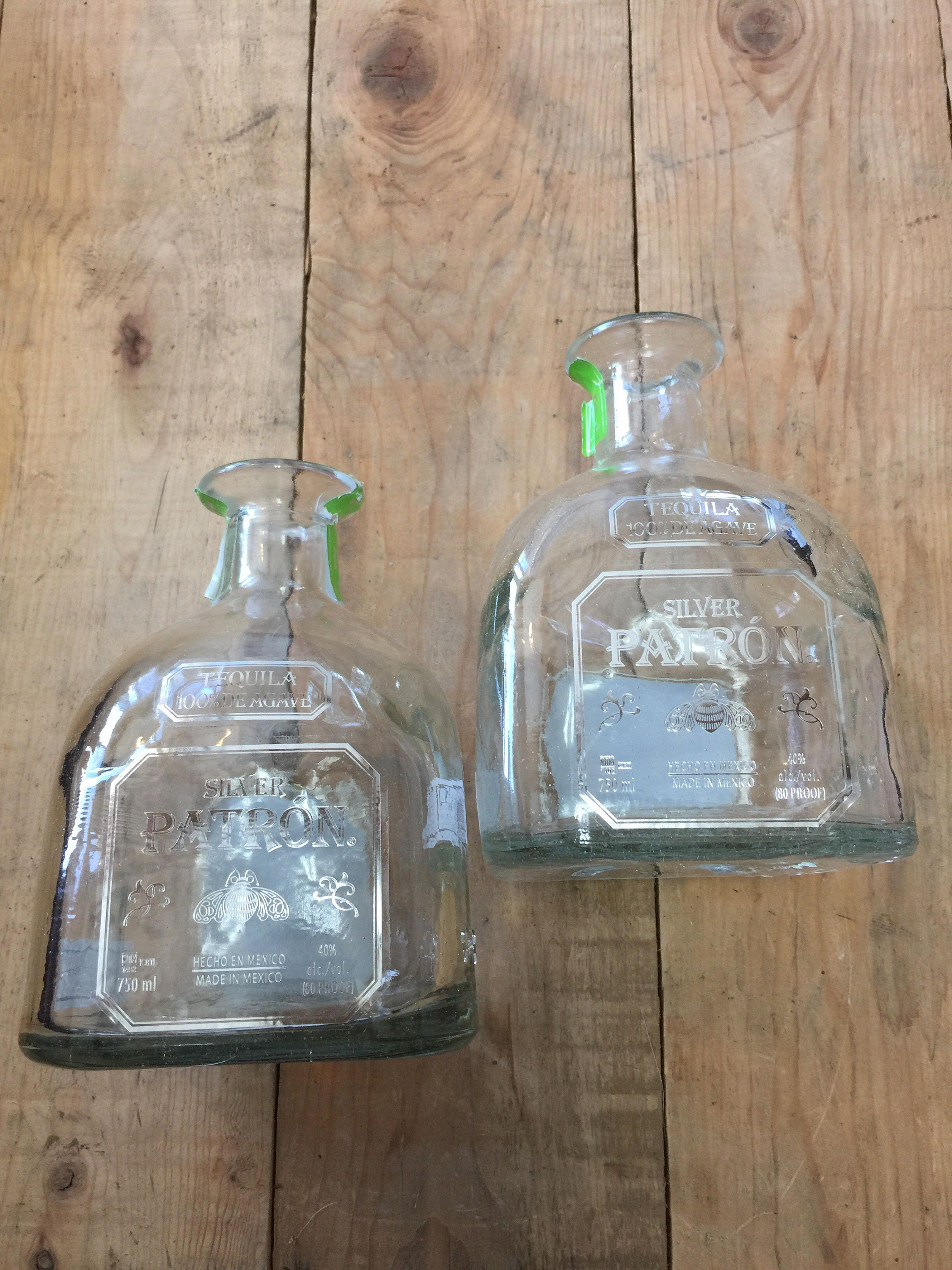 Patron Silver 750ml Tequila Glass Bottle Empty Square Rustic