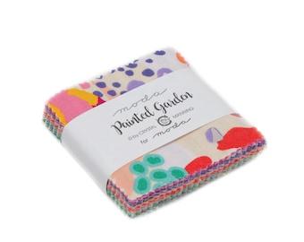 Moda Mini Charm Pack, Painted Garden by Crystal Manning for Moda Fabrics, Fabric Scraps, 11810MC Moda Precuts