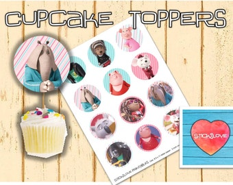 "Sing movie printables 2 "" circles  cupcake toppers stickers"