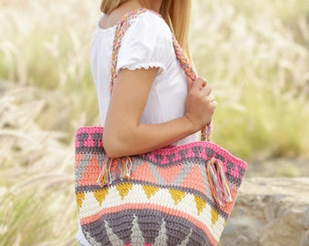 Crochet Market Day Aztec/Southwestern Cotton Shoulder Bag, Custom Order, Handmade