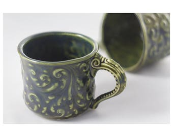 Small green patterned ceramic cup | handmade | porcelain | pottery | decorative