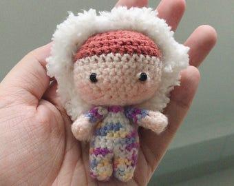 Boy in fluffy hoodie amigurumi keychain crochet