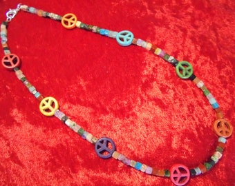 4mm multi-stone cube beads and peace sign necklace