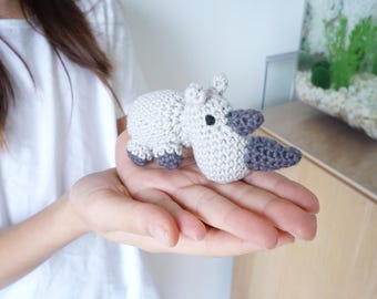 Miniature Rhino hand made amigurumi - crochet