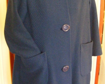 """1960's Blue Mid Century Wool Overcoat 3/4 Sleeves Patch Pockets 38"""" Bust Misses'"""