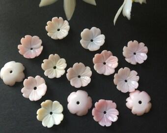 6pcs Pink Queen Conch MOP Shell Bowl Flower Bead