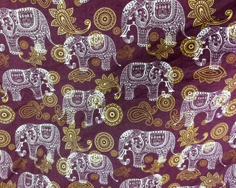 Quilt Cotton Fabric Vintage Retro Tribal Elephant Purple White Fat Quarter Half Yard or Yard