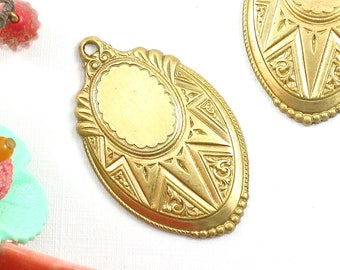 2 gold Art Deco jewelry pendants or earring charms brass . Lovely Detail. 42mm x 26mm (ST16). Please read description