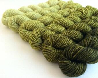 Hand-dyed Merino Gradient Sock Yarn Mini Skein Set 6x33g OLIVE OIL