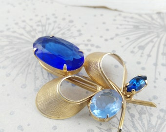 Big Blue Brooch - Mid Century Brooch - Something Old Blue - Gift for Women - Mother's Day Gift - Rhinestone Brooch - Modernist Brooch