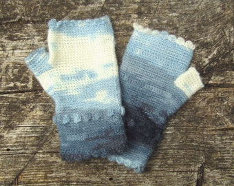 Denim and Cream Scalloped Fingerless Gloves crocheted feminine wrist warmers texting gloves