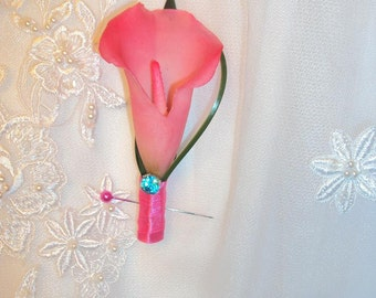 Wedding Real Touch Hot Pink Calla Lily Boutonniere -Silk Wedding Boutonniere