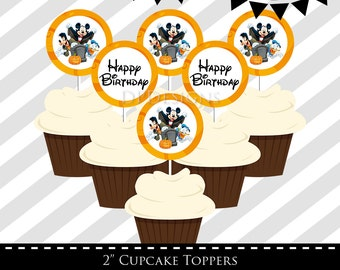 Mickey Mouse Halloween Birthday Party Cupcake Toppers - INSTANT DOWNLOAD