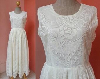 Lace Wedding Dress Boho Wedding Dress Bohemian Wedding Dress Vintage Wedding Dress Beach Wedding Dress Bridal Dress Sleeveless Medium Size 8