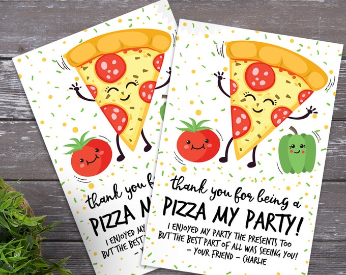 Pizza Party Thank You Cards - Pizza Party, Pizza Birthday | EDITABLE Text INSTANT Download Printable PDF