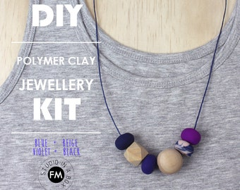 DIY Polymer Clay Jewellery Kit - Polymer clay & wood necklaces - Handmade - Blue + Beige + Violet + Black Colourway