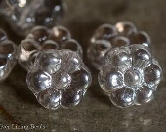 Silvered Blooms (12) - Czech Glass Bead - 8x4mm - Flower