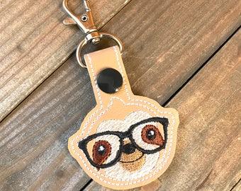 Sloth Keychain, Sloth Key chain, Nerdy Sloth Zipper Pull, Sloth Bag Tag, Pink, Nerd Keychain