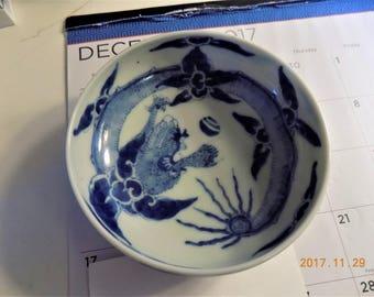 antique blue & White Asian bowl  signed fine art piece
