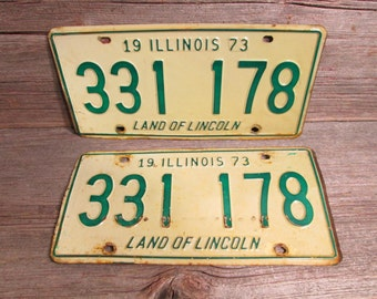 Illinois License Plate 1973 Set or Single Green and White 331 178