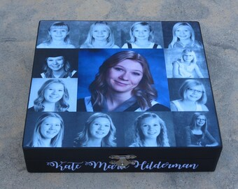 Unique Graduation Gift, Photo Keepsake Box, Personalized Sister Gift, Custom Graduation Collage, Unique Birthday Gift, Best Friends Gift