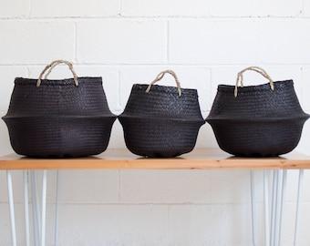 Noir Seagrass Belly Basket - Rice Baskets - Belly Basket - Storage Basket - Plant Basket - Natural Basket - Black basket - Fair trade basket