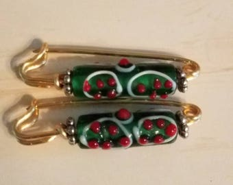 Dark Green glass beaded fibulae - safety pin - gold