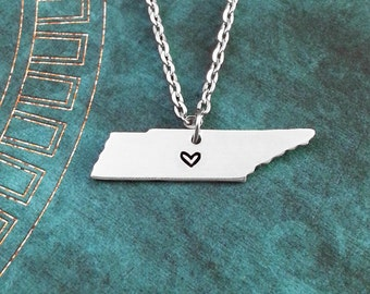 Tennessee Necklace, Personalized Jewelry, Hand Stamped Necklace, Long Distance Relationship, State Necklace, Map Necklace, Heart State