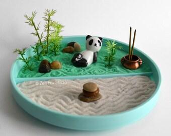 Mini Zen Garden // Panda Figurine // Incense Burner // Bamboo // DIY Kit // Feng Shui // Housewarming Gift // Cairn Kawaii Meditation Tools