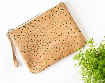 """Cork wristlet clutch cork clutch Vegan clutch """"Green Confetti"""" made of natural cork and organic cotton"""