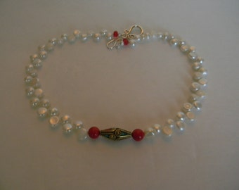 Classic Freshwater Pearl Necklace With Turquoise And Coral Tibetan Stone:Handcrafted White Pearl Choker For Her-Bridal Jewerly-Bridal Wear