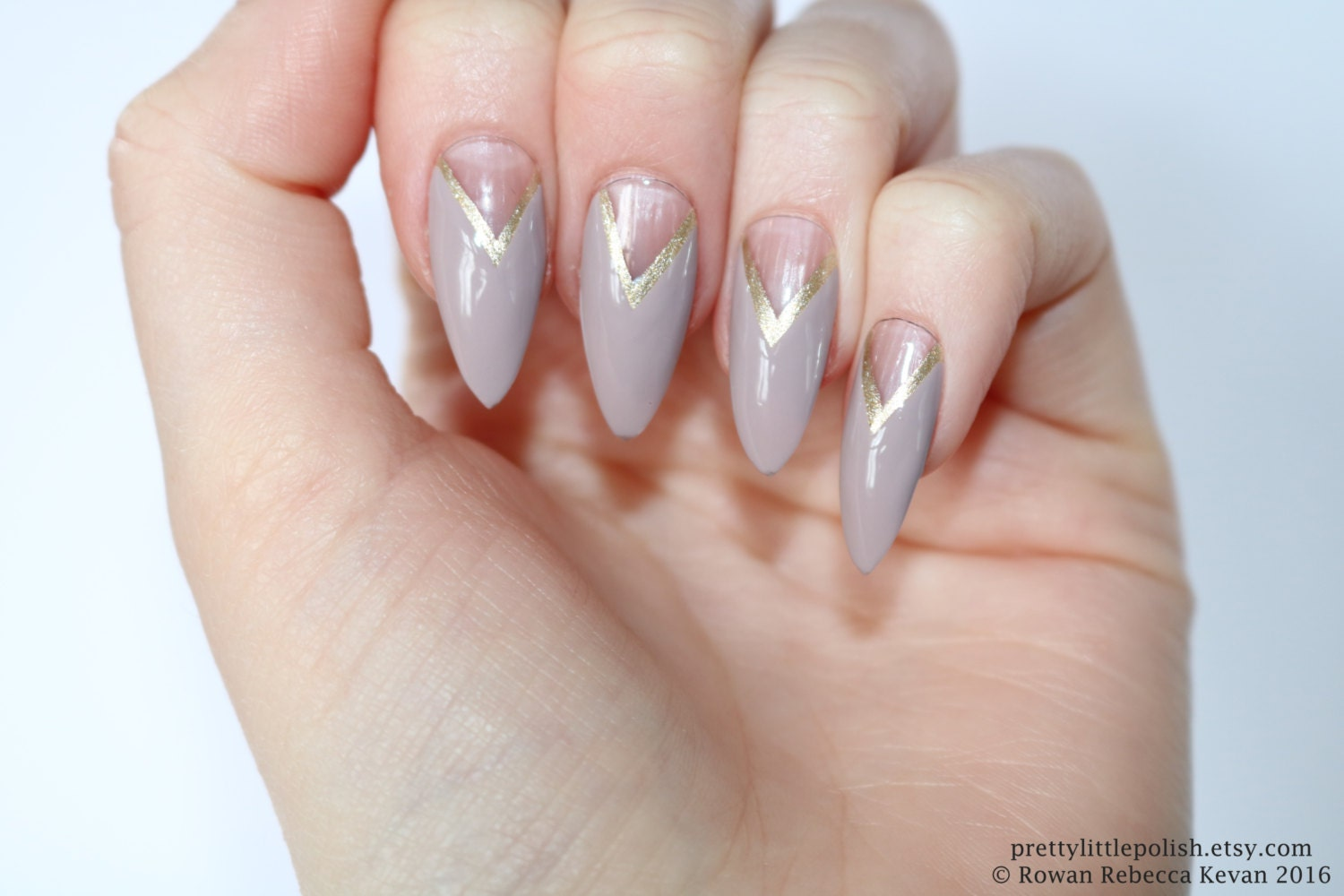 Mocha and gold french stiletto nails Fake nail Stiletto