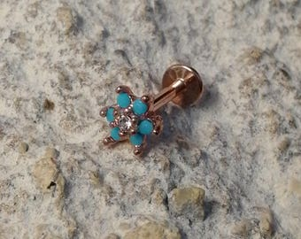 Rose Gold Plate Turquoise Petal Flower Labret Stud - 1.2mm Gauge - suitable for lip, tragus, helix etc - UK Seller