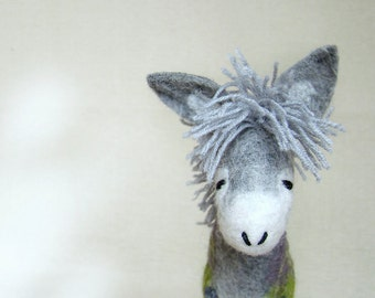Felt Donkey - Grey Birger. Art Toy. Felted Stuffed Waldorf style Marionette Puppet Handmade Farm Animals Toys. grey green gray.