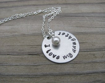 """Daughter Necklace """"I love my daughter"""" with an accent bead of your choice"""