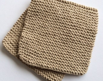 Hand Knit Cotton Pot Holders - Set of 2 - Jute Hot Pads