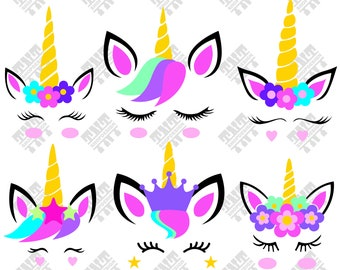 Unicorn svg - Unicorn head svg - Unicorn head digital clipart for Print, Design or more ,files download svg, png, dxf