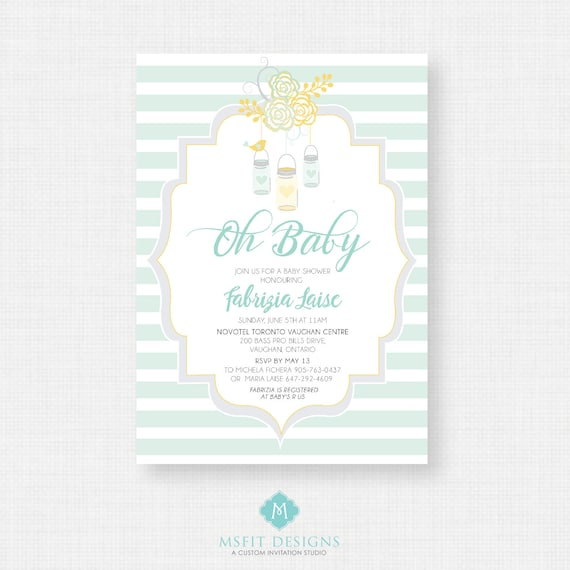 Printable Baby Shower Invitation- Oh Baby Shower Invitation, Unisex, Digital, Printable Template DIY