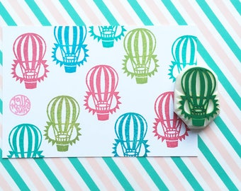 hot air balloon rubber stamp | retro stamp | birthday card making | diy travel journal | gift for boys | hand carved by talktothesun