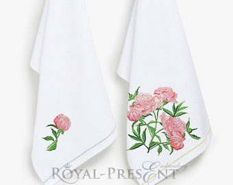 Two Pink Peonies Machine Embroidery Designs